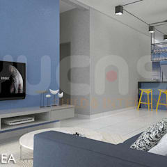 skypark Condo at Saujana Putra:  Living room by Yucas Design & Build Sdn. Bhd.