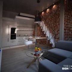 Piętrowe mieszkanie w kamienicy: styl , w kategorii Aneks kuchenny zaprojektowany przez The Sign