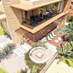 Vista Aérea - Área de Lazer: Casas familiares  por IEZ Design