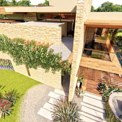 Vista Aérea - Entrada Social: Casas familiares  por IEZ Design