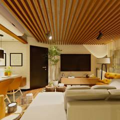 Sala e Cozinha: Salas de estar  por IEZ Design