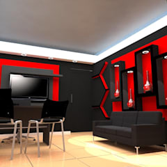 Diseño de interiores, modelado 3d showroom tu casa inteligente: Salas / recibidores de estilo moderno por arqyosephlopez