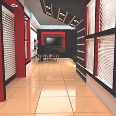 Diseño de interiores, modelado 3d showroom tu casa inteligente: Salas / recibidores de estilo  por arqyosephlopez,