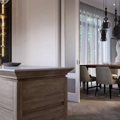 Дизайн проект квартиры 180 кв.м. Москва, Ленинский проспект 85: Столовые комнаты в . Автор – Квадрат