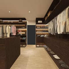 WESTCLIFF BEDROOM WALK IN CLOSET :  Bedroom by Linken Designs , Modern Wood Wood effect