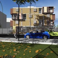Habitação Social + Containeres: Casas pré-fabricadas  por RUA D | Arquitetura e Urbanismo
