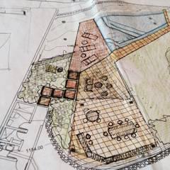 Croquis inicial del proyecto de áreas exteriores: Piscinas de estilo  por OMAR SEIJAS, ARQUITECTO