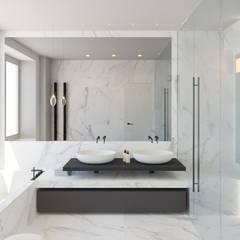Rendering bagno padronale: Bagno in stile  di Arabella Rocca Architettura e Design