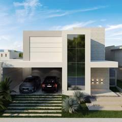 Fachada Frontal: Casas familiares  por Rosane França Arquitetura