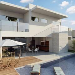 Fachada Posterior: Casas familiares  por Rosane França Arquitetura
