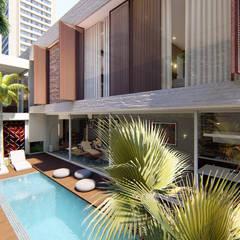 Fachada Posterior Interna: Casas geminadas  por IEZ Design
