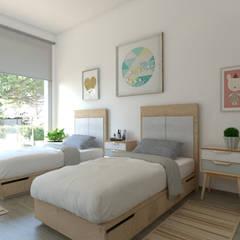 Villa de lujo en La Nucía, Alicante: Dormitorios infantiles de estilo  de Pacheco & Asociados