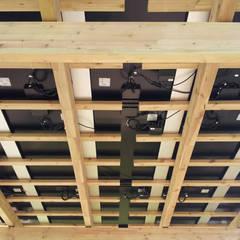 Pergola su misura con copertura PANNELLI FOTOVOLTAICI: Giardino in stile  di ONLYWOOD