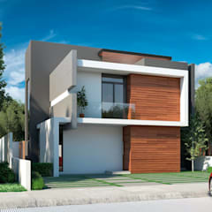 Fachada exterior: Villas de estilo  por Eutopia Arquitectura
