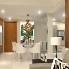 Reforma de Apartamento 60m²: Salas de jantar clássicas por Domingos de Arquitetura