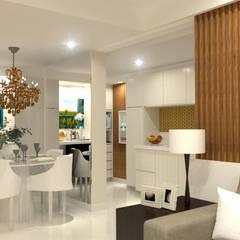 Reforma de Apartamento 60m²: Cozinhas embutidas  por Domingos de Arquitetura