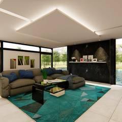Sala de TV ampla: Salas de estar  por TRAIT ARQUITETURA E DESIGN