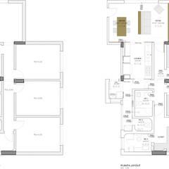 planta antes e depois: Armários e bancadas de cozinha  por Estudio Piloti Arquitetura