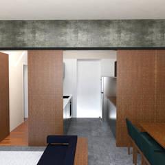 maquete eletrônica painel fechamento cozinha: Armários e bancadas de cozinha  por Estudio Piloti Arquitetura