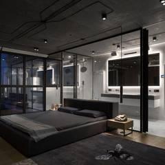 Дизайн-проект двухуровневой квартиры в стиле лофт , площадью 82 кв.м. Москва, ул. 8 Марта 14: Спальни в . Автор – Владимир Маркин