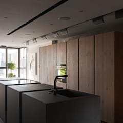 Дизайн-проект двухуровневой квартиры в стиле лофт , площадью 82 кв.м. Москва, ул. 8 Марта 14: Встроенные кухни в . Автор – Квадрат