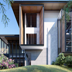 Single family home by GRID ARCHITECT THAILAND, Tropical Solid Wood Multicolored