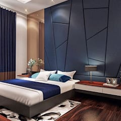 Red chocolate in blue:  Kamar Tidur by Lighthouse Architect Indonesia