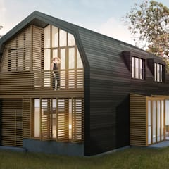 Duurzame houten villa Amsterdam-Noord: moderne Huizen door Puurbouwen