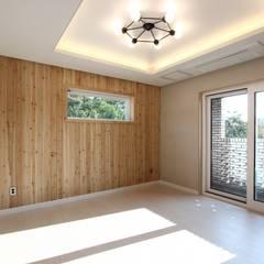 고급스러움에 모던함을 더한 레트로스타일 전원주택 인테리어: (주)디엘건축의  침실,컨트리