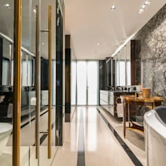 Design & Build: Landed House at Dunsfold Drive: modern Bathroom by erstudio Pte Ltd