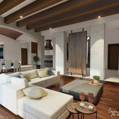 : Salas de estilo rústico por Cynthia Barragán Arquitecta