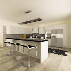 Virtual home staging - villa in campagna: Cucina attrezzata in stile  di AplusP  Architettura e Paesaggio