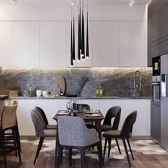 Квартира 101м2 в современном стиле : Столовые комнаты в . Автор – Lines
