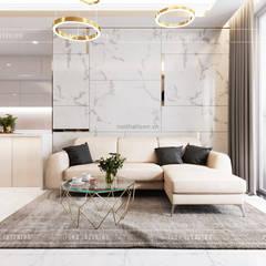 THIẾT KẾ CĂN HỘ VỚI NỘI THẤT PHONG CÁCH CHÂU ÂU - Sarica Condominium Sala:  Phòng khách by ICON INTERIOR