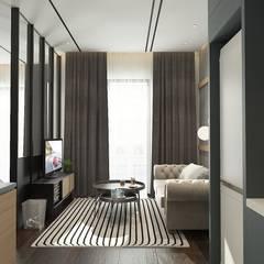 28 B L V D:  Living room by Verde Design Lab ,