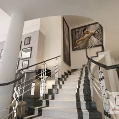 Projekt wnętrza domu w stylu nowojorskim: styl , w kategorii Schody zaprojektowany przez MIRAGE STUDIO Sebastian Rzymski