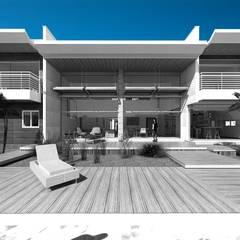 Area social exterior, terraza, deck y piscina: Casas unifamiliares de estilo  por Eisen Arquitecto
