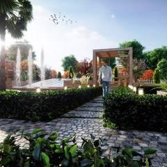 Ceren Kaya Mimarlık – MD Park Evleri:  tarz Bahçe süs havuzu