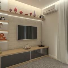 Residência em Santos/SP: Salas multimídia  por Faconti Arquitetura e Construção