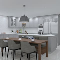 SANDTON KITCHEN - dining chairs :  Built-in kitchens by Linken Designs
