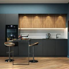 Однокомнатная квартира для молодого человека: Встроенные кухни в . Автор – PROROOMS
