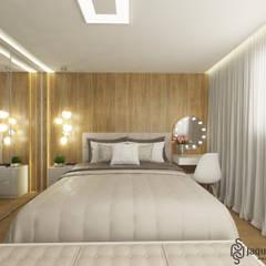 Casa CF: Quartos  por JAQUELINE SILVA ARQUITETURA E INTERIORES,Moderno Derivados de madeira Transparente