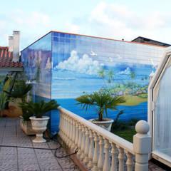 Azulejos em jardim privado Jardins rústicos por Gestos Nativos - azulejos Rústico