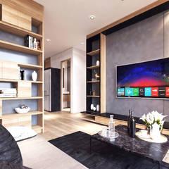 Gallery West Apartment: Ruang Keluarga oleh Jati and Teak,
