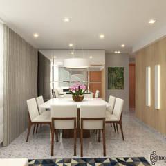 APARTAMENTO MM: Salas de jantar  por JAQUELINE SILVA ARQUITETURA E INTERIORES,Moderno Derivados de madeira Transparente