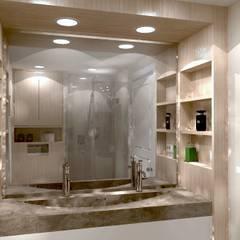 Render van de houten wasbakombouw met vakjes:  Badkamer door Stefania Rastellino interior design