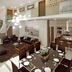 Vista Interna: Salas de estar  por Paulo Stocco Arquiteto