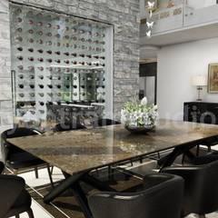 Modern Style House Design Ideas & Pictures by Yantram architectural design studio - Boston, USA:  Dining room by Yantram Architectural Design Studio, Modern