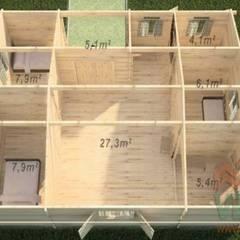 Casa de madera modelo INCA: Espacios comerciales de estilo  de MNVEEK