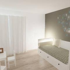 Apartamento T2 - Águas Livres - Quarto Criança: Quartos de criança  por Acontece Design Solutions